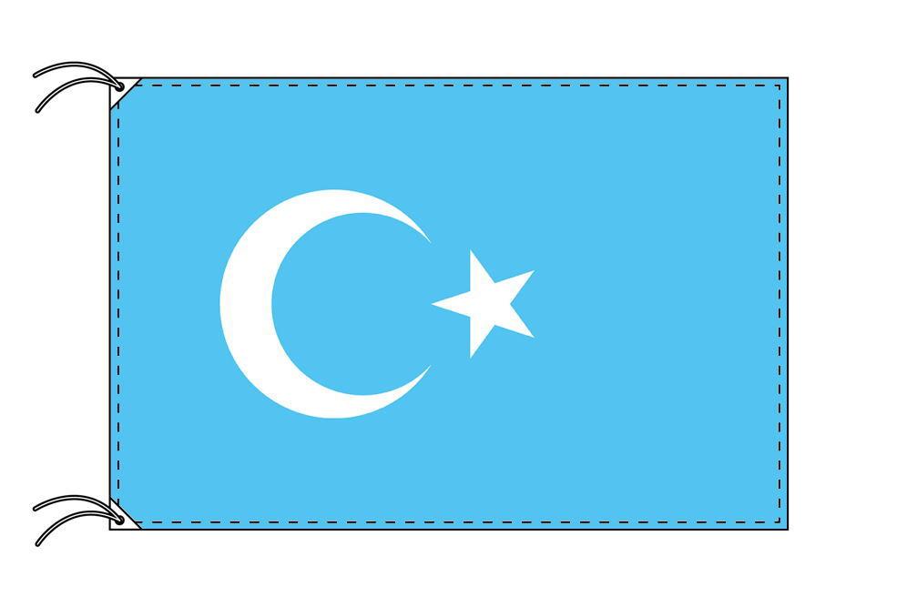 東トルキスタン[ウィグル自治区]・高級国旗セット(国旗70×105cm・ポール・竿頭・新型フロアスタンド付き)