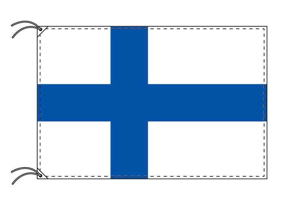 フィンランド・国旗セット[DX]【アルミ合金ポール・取付部品付・テトロン国旗 サイズ70×105cm】安心の日本製