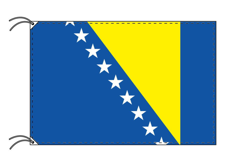ボスニアヘルツェゴビナ・国旗セット[DX]【アルミ合金ポール・取付部品付・テトロン国旗 サイズ70×105cm】安心の日本製