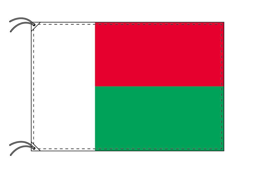 マダカスカル・国旗セット[DX]【アルミ合金ポール・取付部品付・テトロン国旗 サイズ70×105cm】安心の日本製