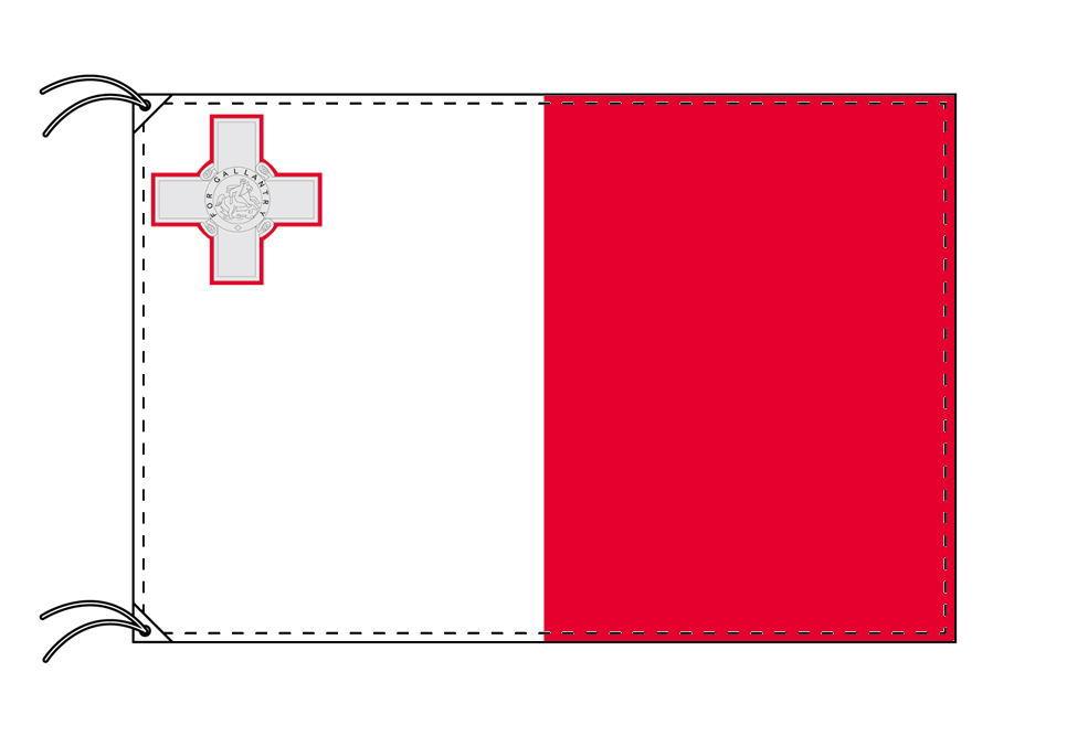マルタ・高級大型国旗セット(サイズ90×135cm・ポール・新型フロアスタンド付き)
