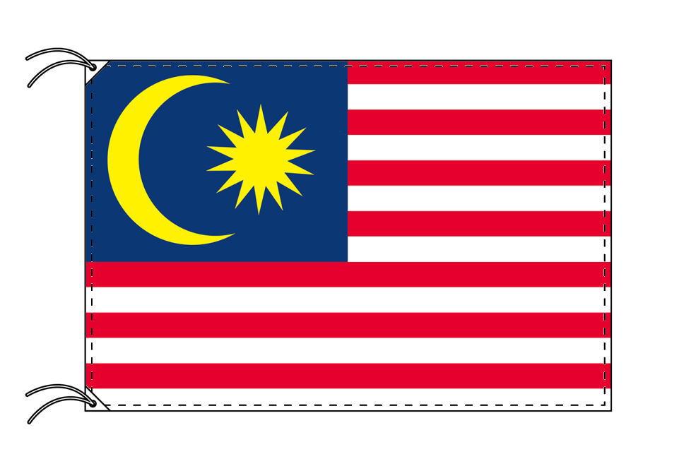マレーシア・高級大型国旗セット(サイズ90×135cm・ポール・新型フロアスタンド付き)
