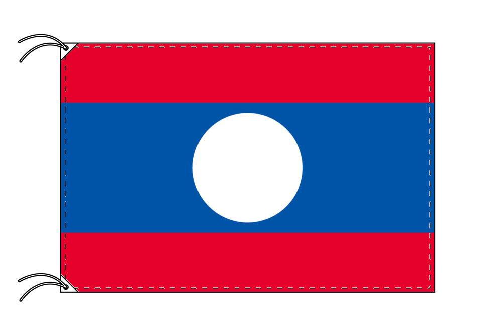 ラオス・高級大型国旗セット(サイズ90×135cm・ポール・新型フロアスタンド付き)