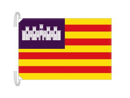 スペイン・自治州旗 バレアレス諸島州(50×75cm・高級テトロン・日本製)