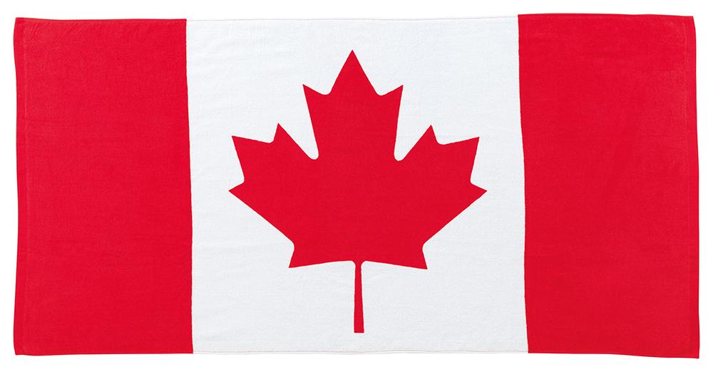 国旗 レジャータオル カナダ国旗柄 メープルリーフ  応援タオル(綿100% 大型サイズ70×140cm)
