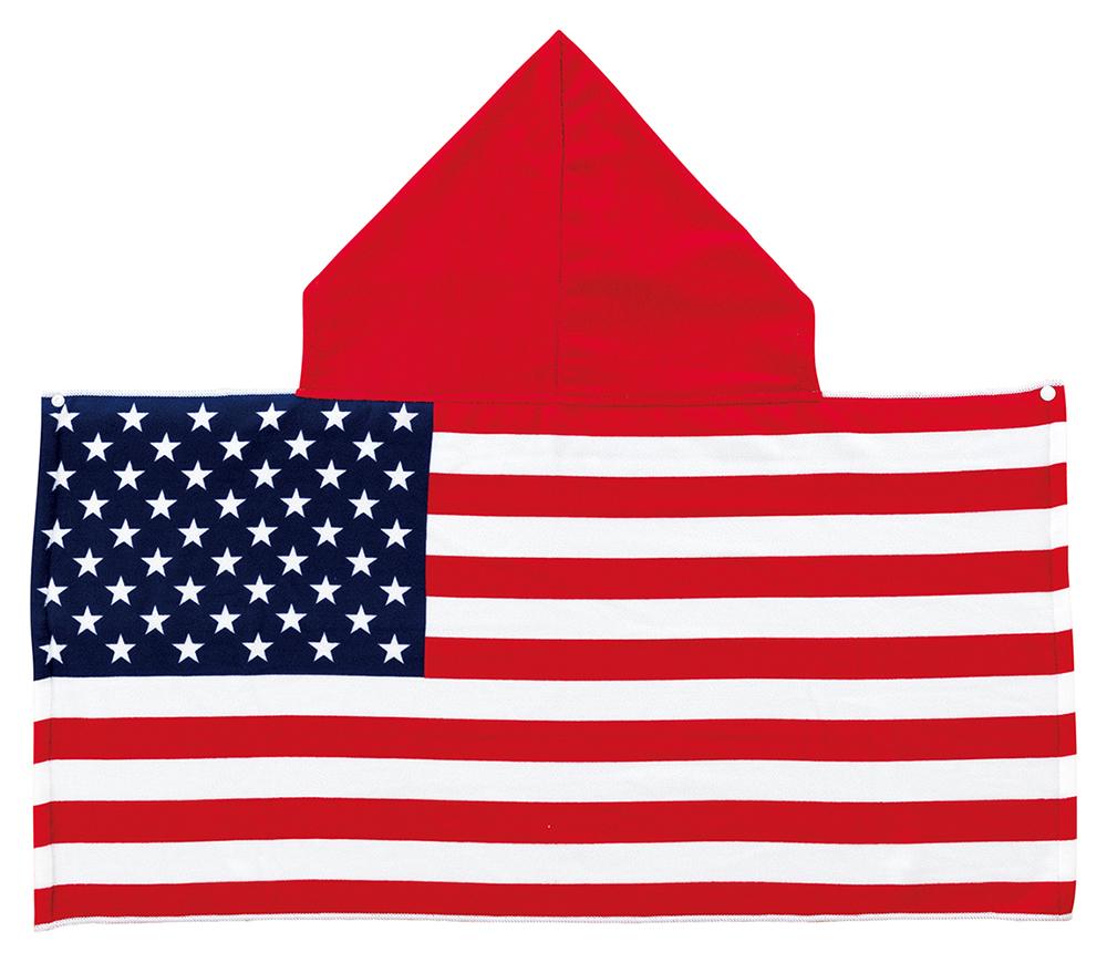 国旗 フード付きタオル アメリカ国旗柄 USA 星条旗 応援タオル マイクロファイバー生地 100×50cm(フード含めず)
