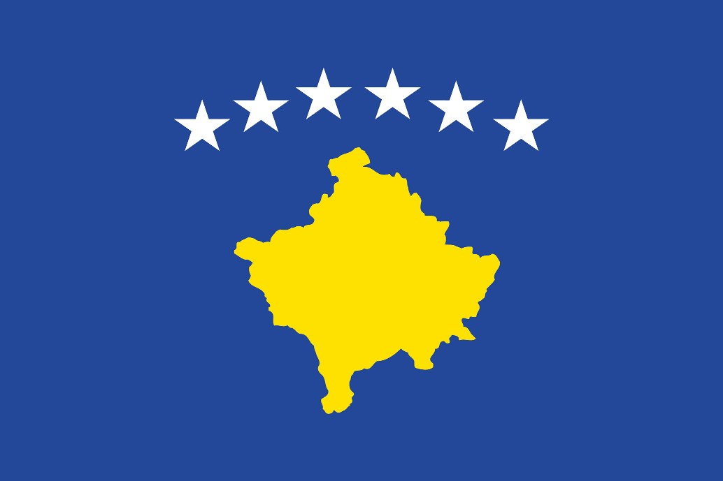 コソボ・高級国旗セット(国旗70×105cm・ポール・竿頭・新型フロアスタンド付き)