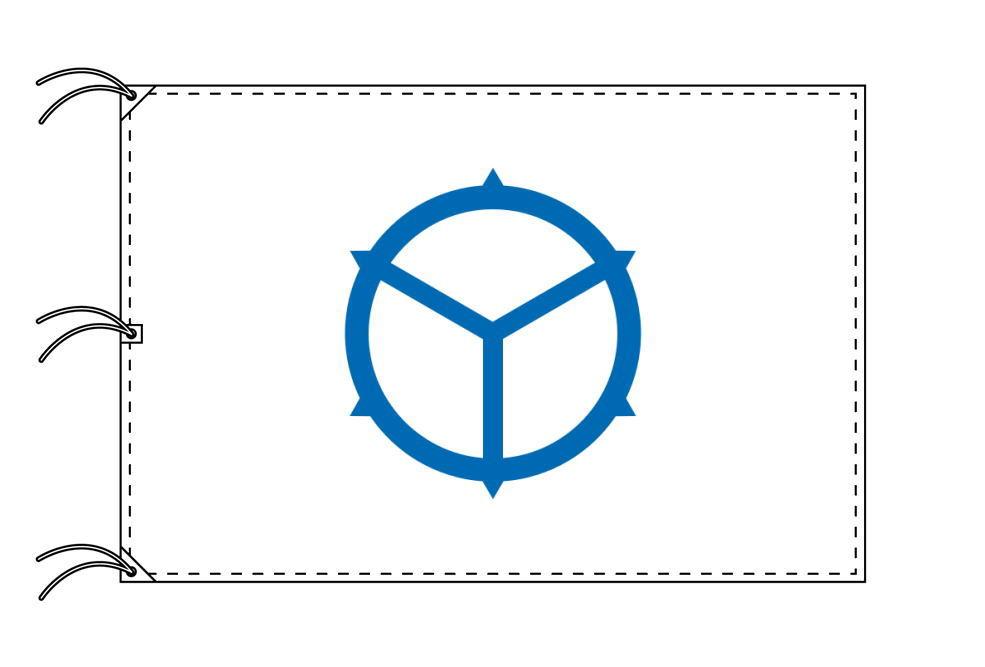 松江市の市旗(島根県・県庁所在地)(サイズ:140×210cm)テトロン製・日本製