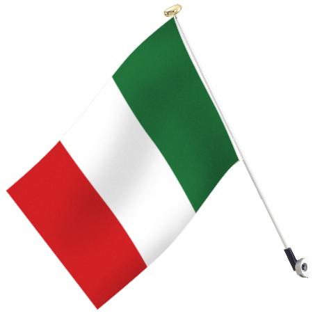 世界の国旗 イタリア・トリコローレ高級国旗セット【アルミ合金ポール・壁面取付部品付】【smtb-u】