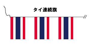 テトロン製・タイ国旗20枚連続旗・15m[M判・34×50cm]
