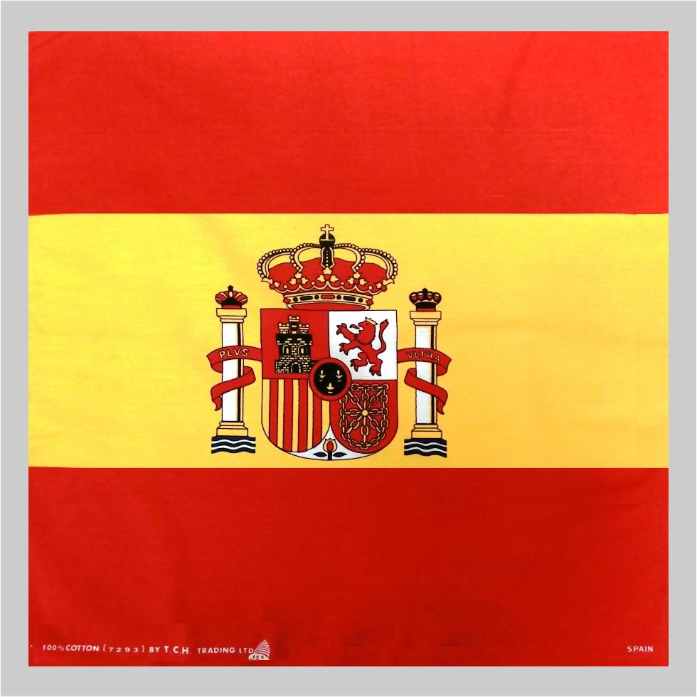 頭や首に巻いてお使いください!お弁当包みにも! バンダナ・お弁当チーフ・スペイン国旗柄(51×51cm・綿100%)