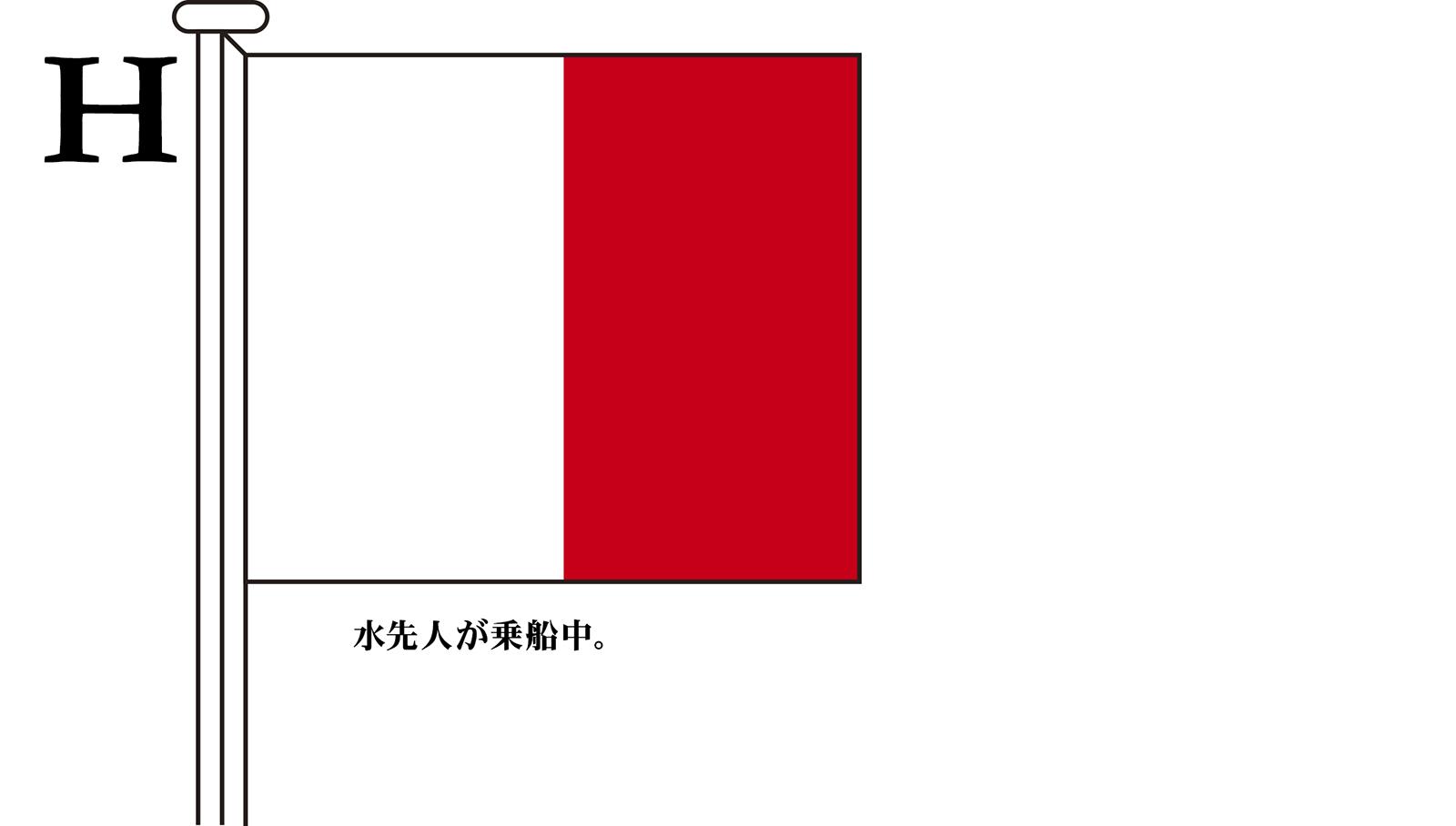 国際信号旗 文字旗 Alphabetical Flags【H】[3巾 中型:131×162cm・アクリル]