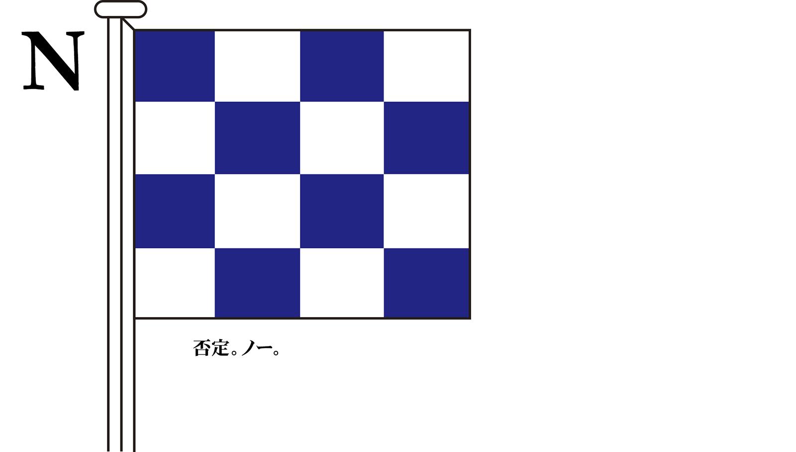 国際信号旗 文字旗 Alphabetical Flags【N】[3巾 中型:131×162cm・アクリル]