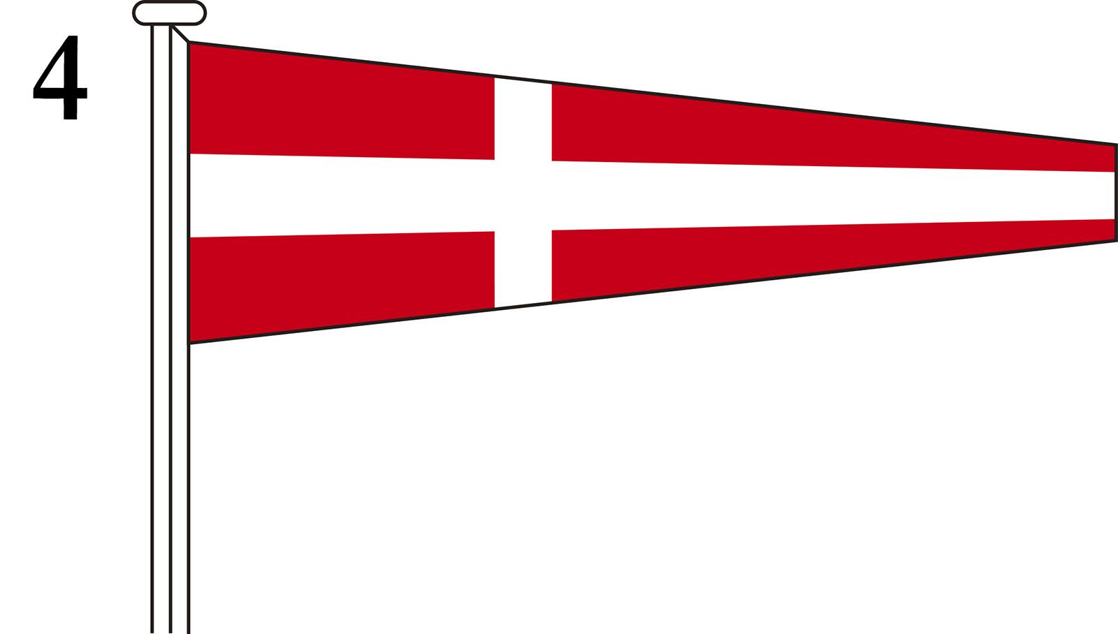 国際信号旗 数字旗 Numeral Pennants【4】[3巾 中型:106×330×84cm・アクリル]