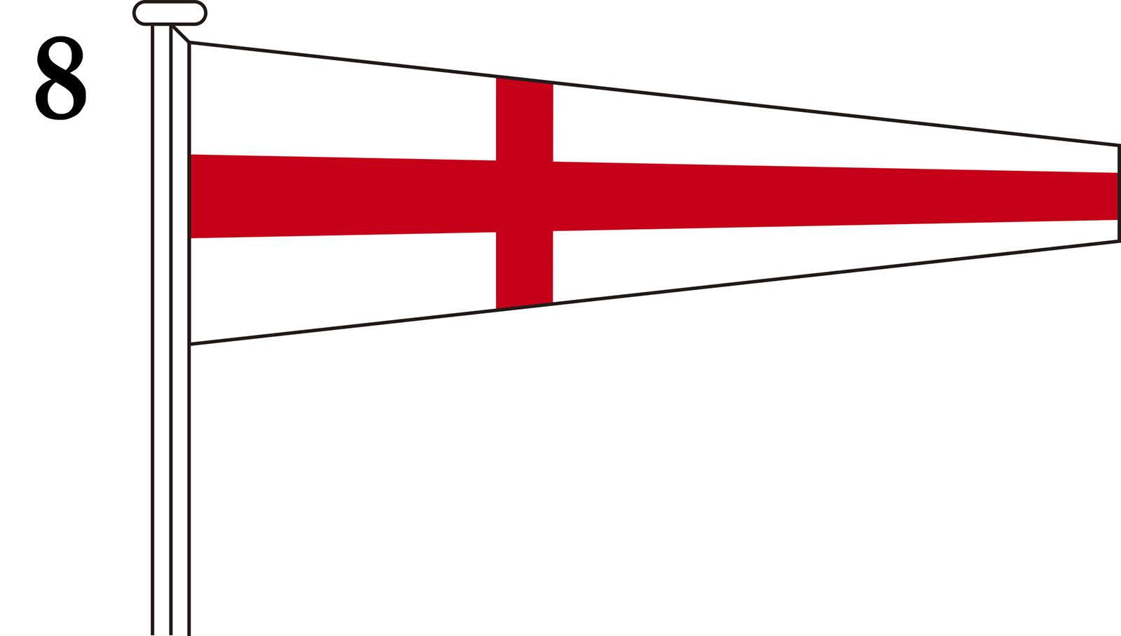 国際信号旗 数字旗 Numeral Pennants【8】[3巾 中型:106×330×84cm・アクリル]