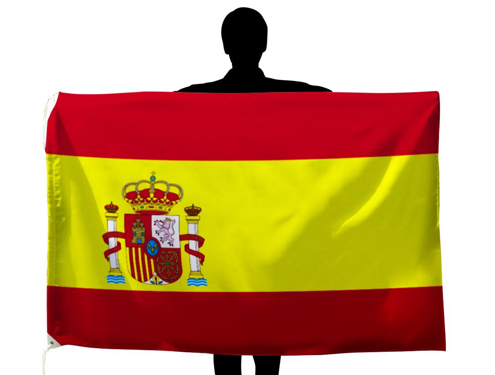 スペイン 国旗 紋章入り 100×150cm テトロン製 日本製 世界の国旗シリーズ