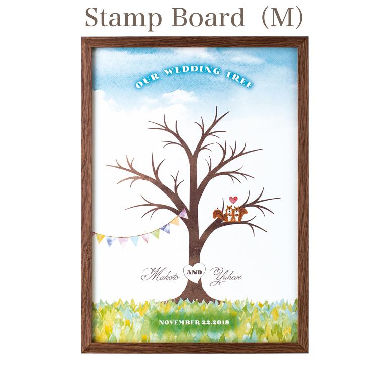 ウェルカムボード Wedding Stamp Board(M) ウェディングスタンプボード Mサイズ ナチュラルホワイト/ウォールナットブラウン ツリー/ケーキ/カー 指印 スタンプ 結婚式【返品不可】【キャンセル不可】
