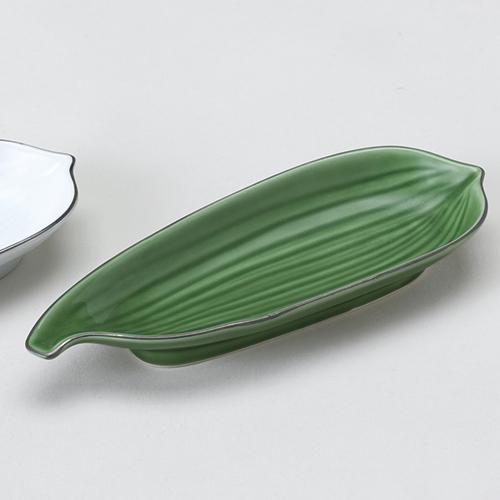 有田焼 プラチナ笹型突出皿 10%OFF グリーン釉 707-10434-02 Z721-146 休み 和食器 業務用食器 皿 業務用 食器 お皿