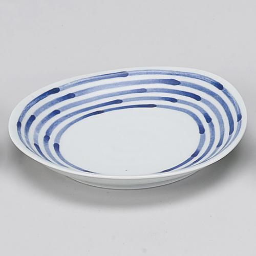 肥前焼 出色 和染ライン変形皿 中 719-10018-01 Z769-314 出荷 和食器 皿 取り皿 業務用 お皿 業務用食器 おしゃれ