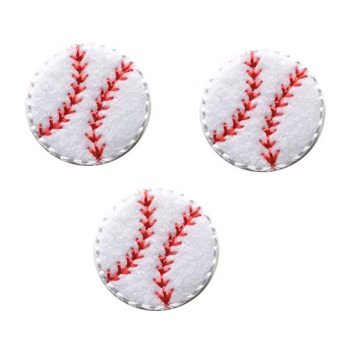 ベースボールモチーフのアップリケです アップリケワッペン 即納 野球ボール UI 人気激安 フェルト 3枚
