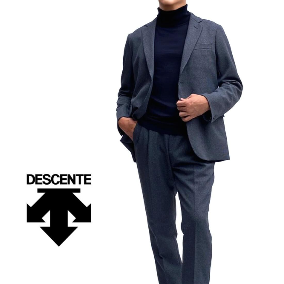 気質アップ ジャケット 使い勝手の良い スラックスの単体使いもできるセットアップスーツは着こなしの場を広げてくれます DESCENTE デサント セットアップスーツハンドトゥースネイビーブルー系総裏仕立て