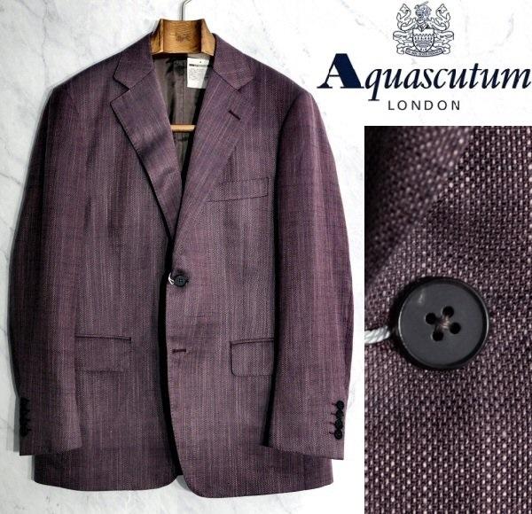 新品 Aquascutum アクアスキュータム 日本製 定価151,200円 シルクリネン混ウールジャケット 背抜き仕立て ワインレッド ボルドー系 AB4サイズ 60%OFF
