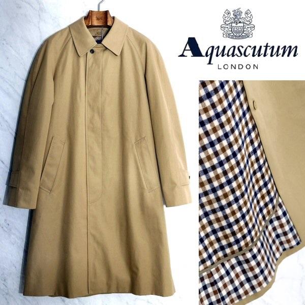 新品 Aquascutum アクアスキュータム 日本製 脱着可能 カシミヤウールライナー付き ステンカラーコート 撥水加工 ハニーベージュ 34サイズ 40%OFF