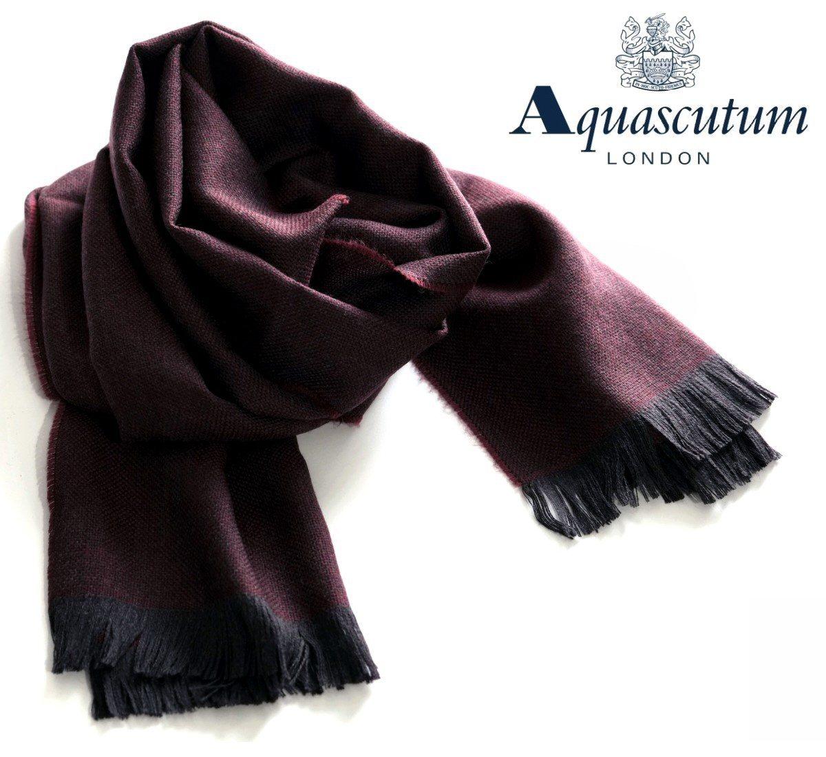 Aquascutum【アクアスキュータム】定価19,800円(税込)◆30%OFF◆イタリア製 ウールストールボルドー×ブラック系