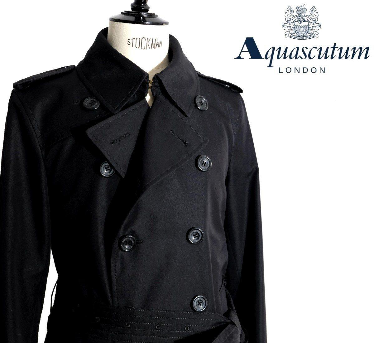 Aquascutum【アクアスキュータム】定価132,000円(税込)◆30%OFF◆日本製PRINCEGATE ダブルブレストトレンチコート撥水加工 ブラック