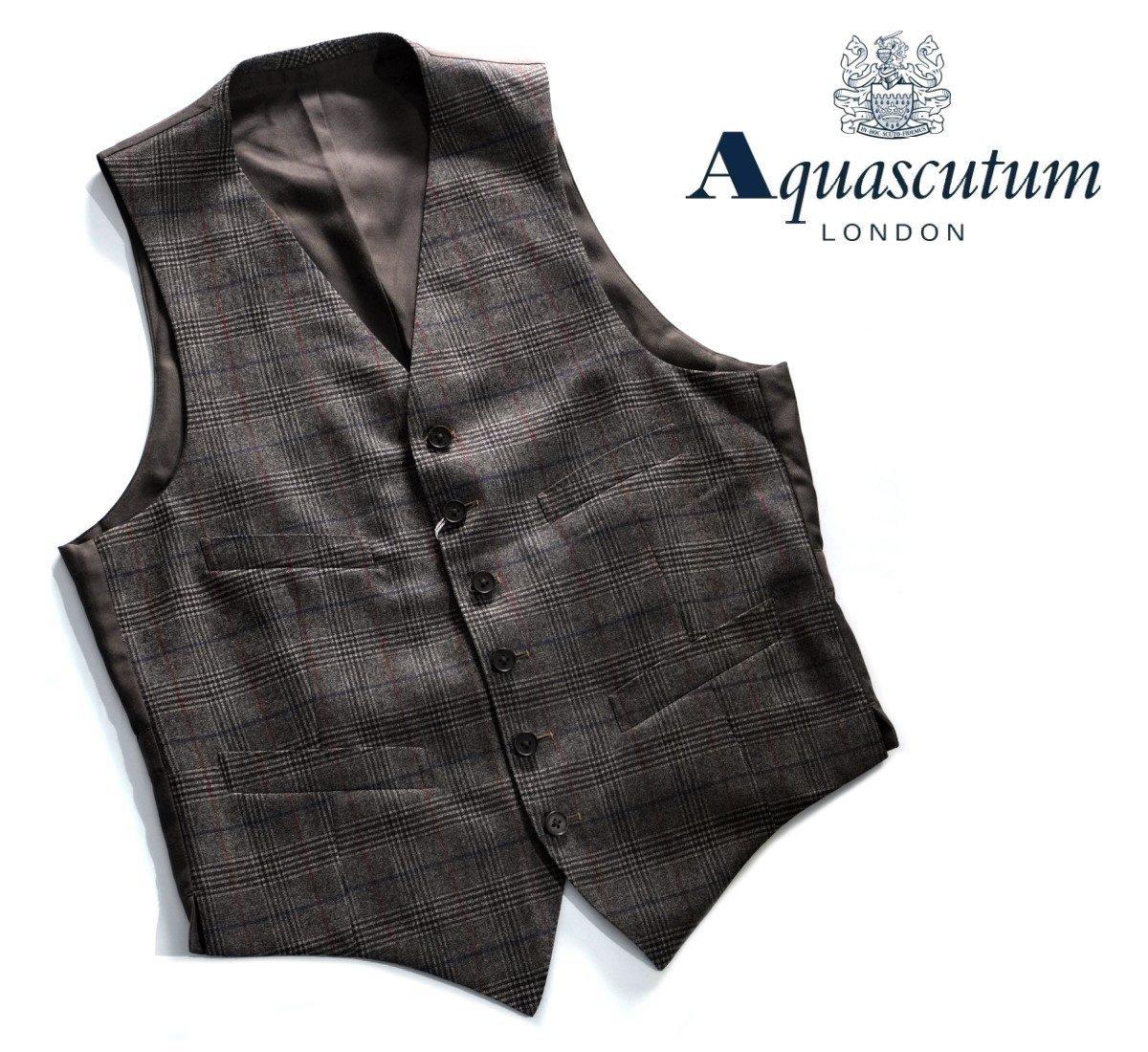 Aquascutum【アクアスキュータム】定価44,000円(税込)◆50%OFF◆日本製ウールベスト・ジレチェック柄