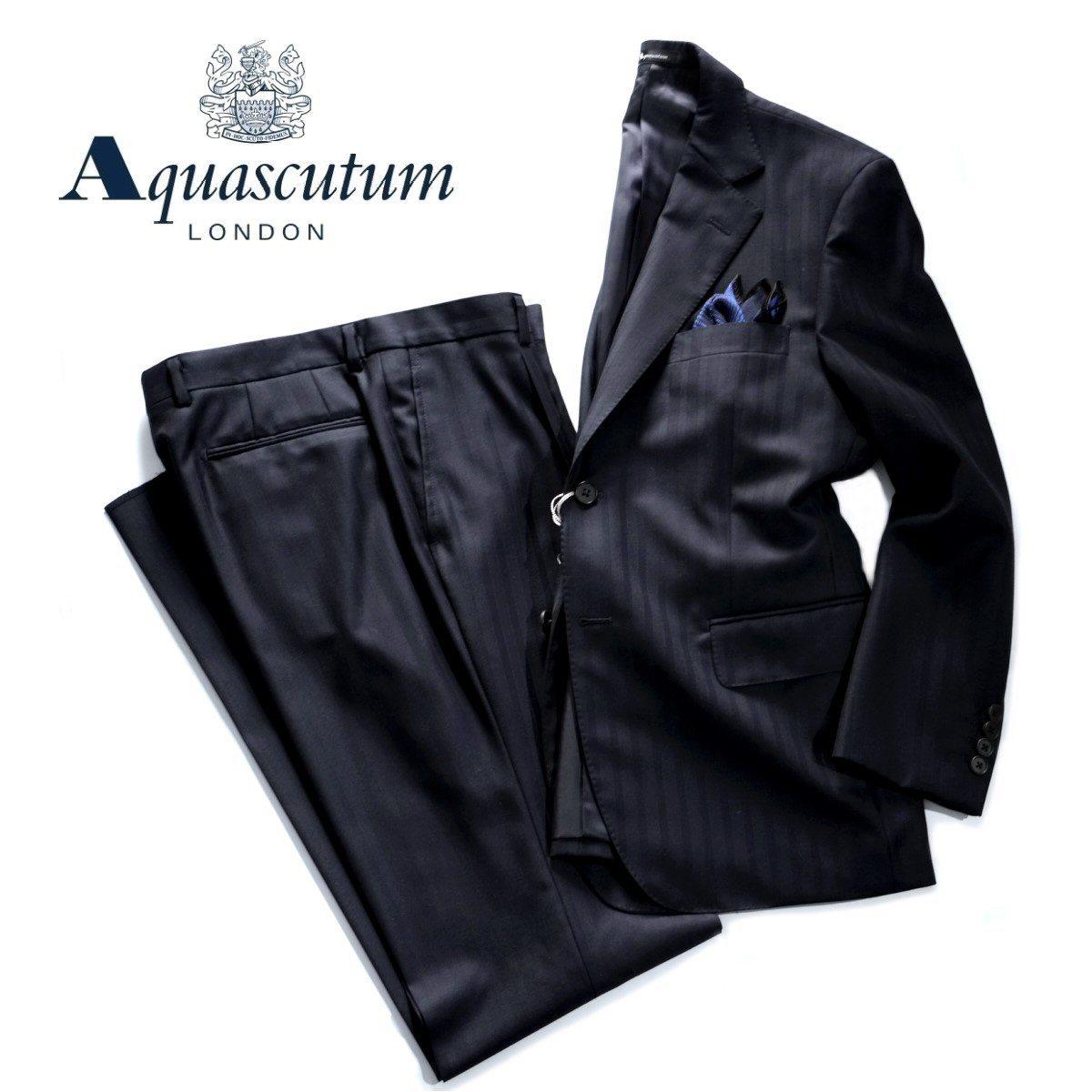Aquascutum【アクアスキュータム】定価176,000円(税込)◆60%OFF◆日本製シャドーストライプウールスーツ濃紺 ネイビー総裏仕立て