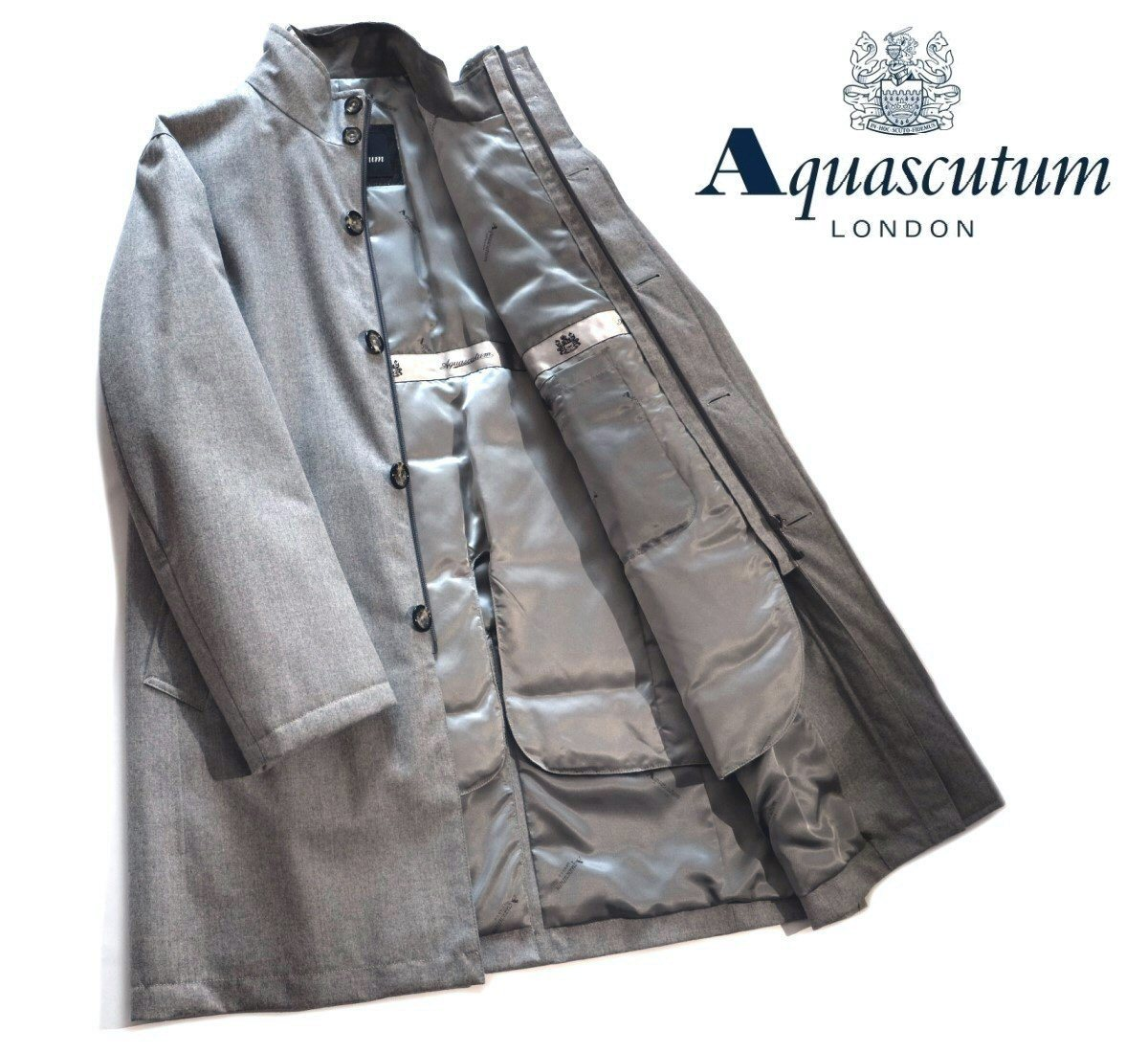 Aquascutum【アクアスキュータム】定価154,000円(税込)◆40%OFF◆撥水加工取り外し可能ダウンライナー付き中綿入りスタンドカラーコートライトグレー