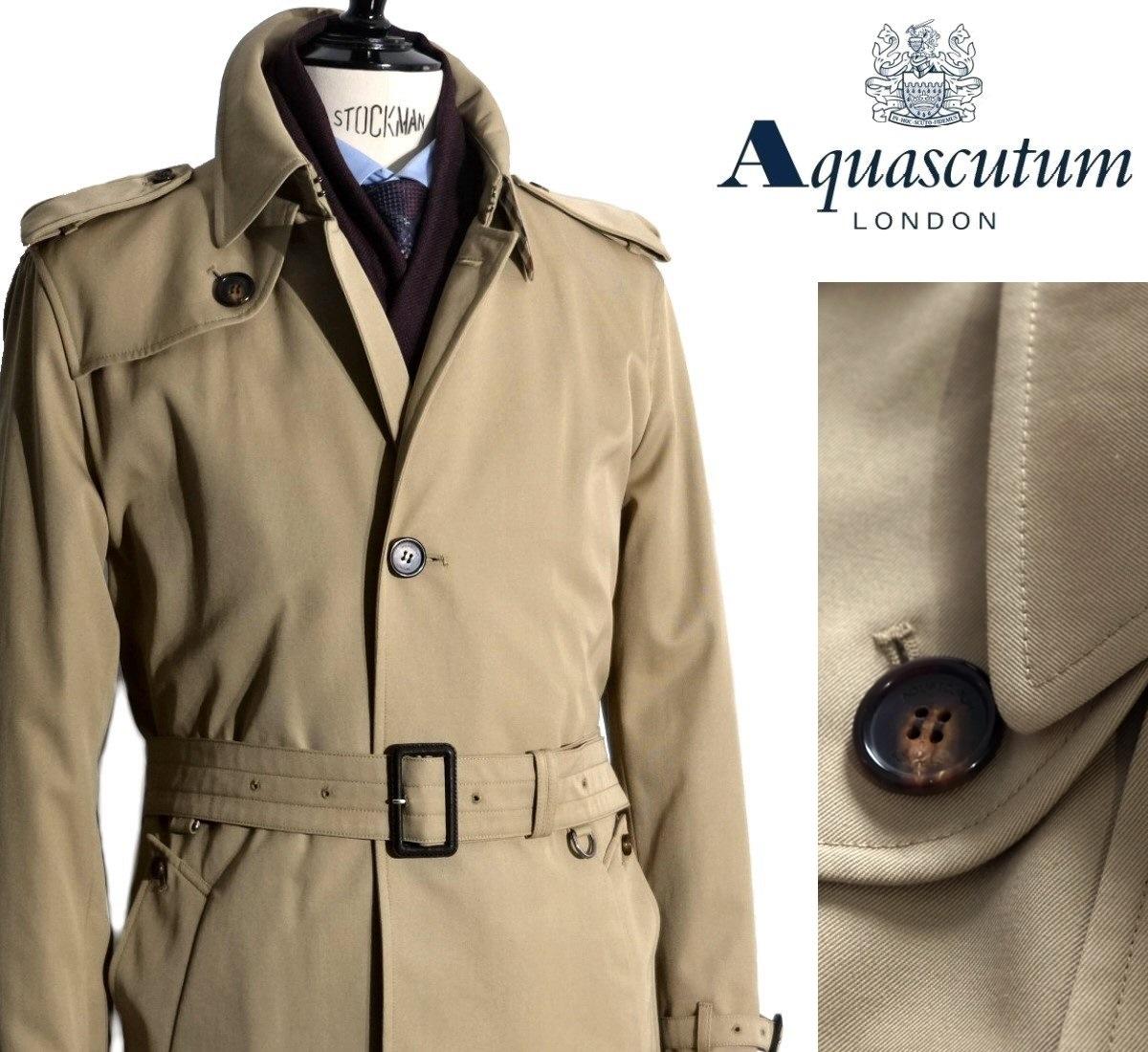 Aquascutum【アクアスキュータム】定価176,000円(税込)◆30%OFF◆英国製シングルベルテッドコート撥水加工 ベージュ