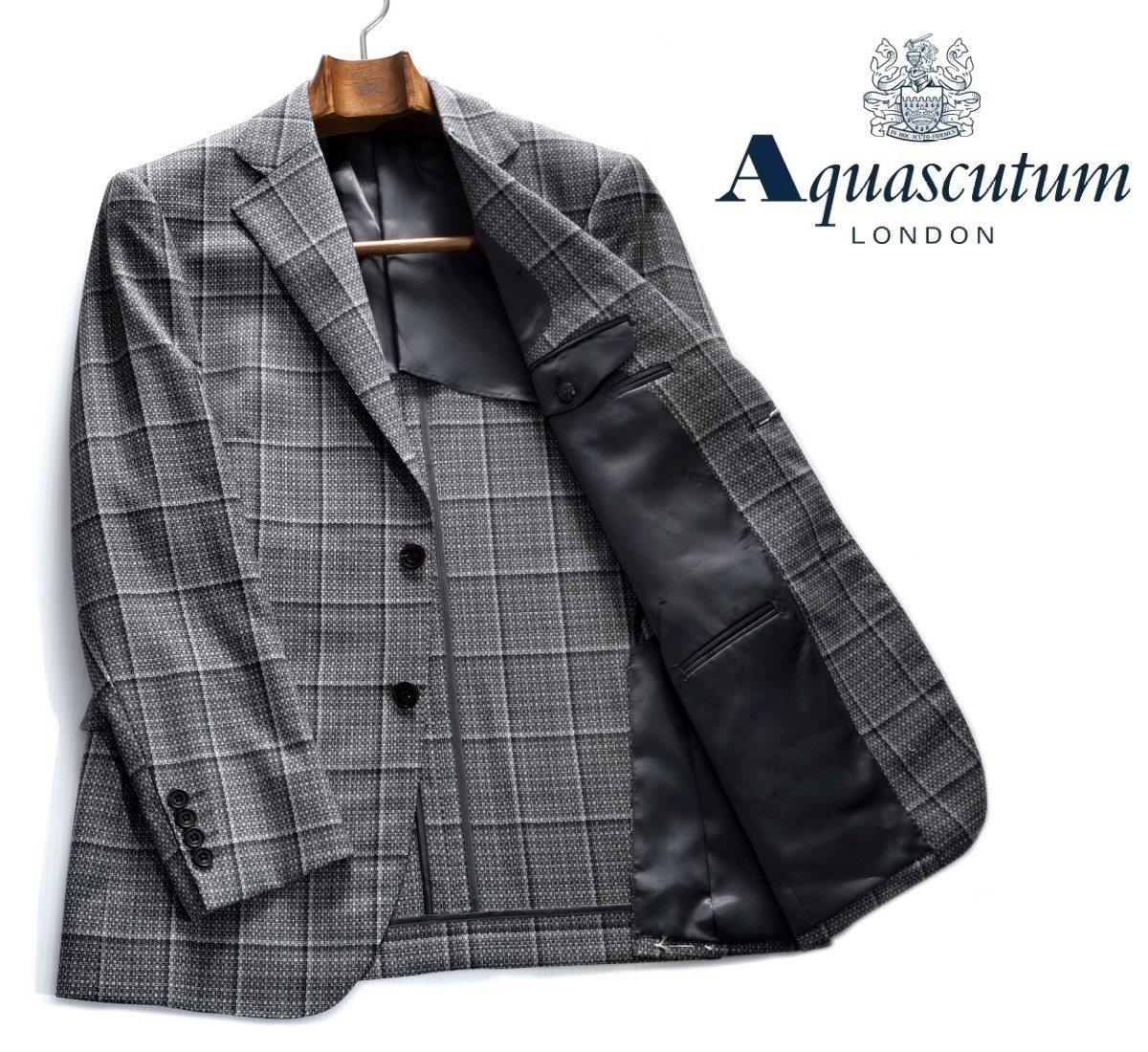 Aquascutum【アクアスキュータム】定価154,000円(税込)◆60%OFF◆日本製ウィンドペンウールジャケットグレー背抜き仕立て