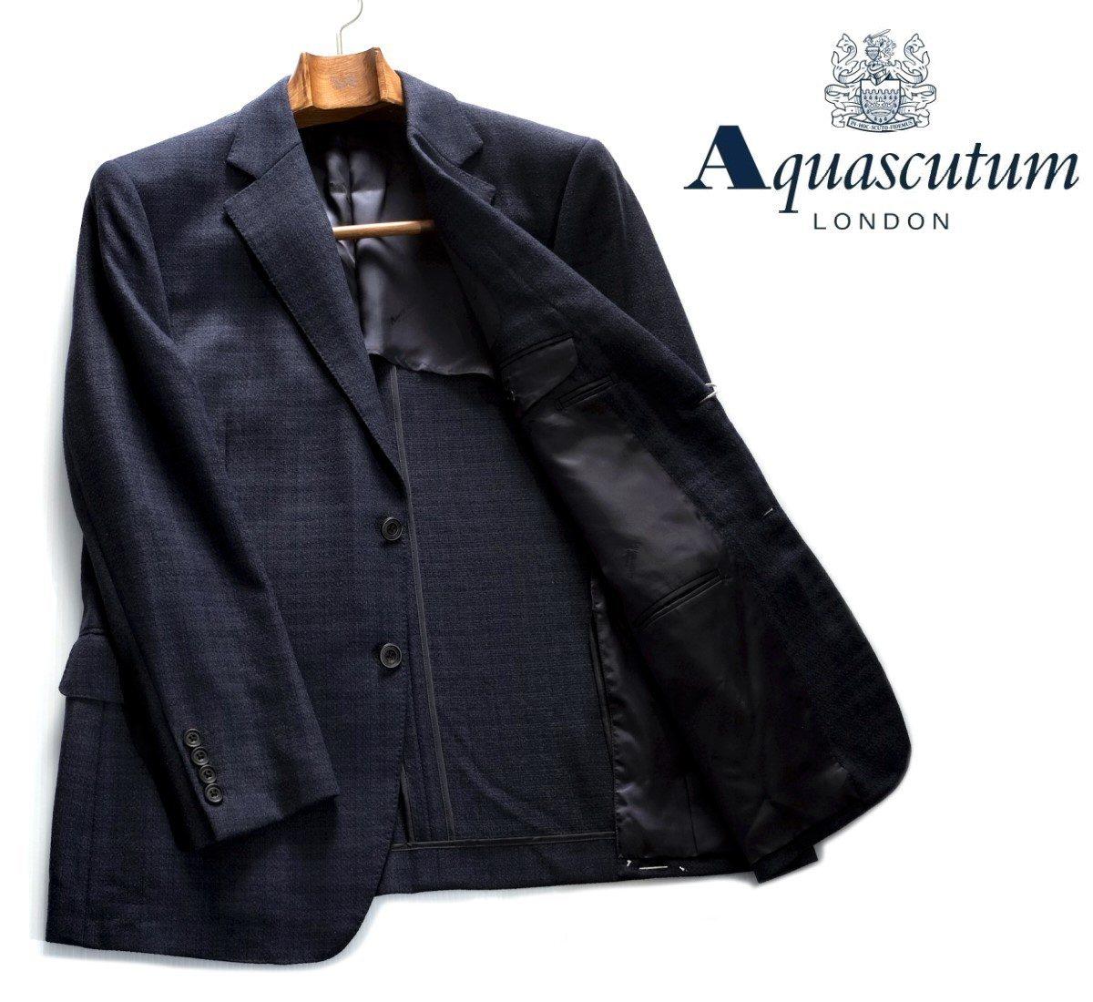 Aquascutum【アクアスキュータム】定価154,000円(税込)◆60%OFF◆日本製織柄ジャケット濃紺 ネイビー背抜き仕立て
