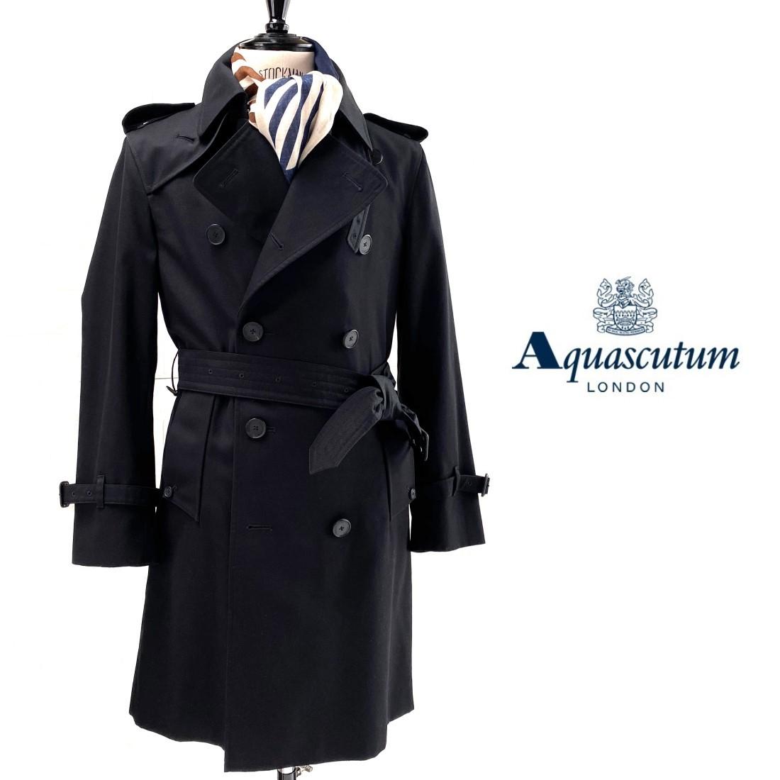 トレンチコートの代名詞的存在のブランド Aquascutum アクアスキュータム 英国製PRINCEGATE 捧呈 ブラック 予約販売品 ダブルブレストトレンチコート 黒
