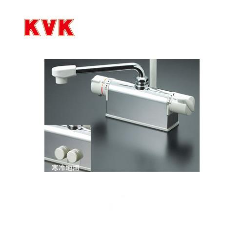 [KF771R2]KVK 浴室水栓 シャワー水栓 サーモスタットシャワー金具 デッキ形(台付き) 取付ピッチ100mmタイプ 240mmパイプ付 逆止弁 取付穴径(mm):φ22~φ24 蛇口 【送料無料】 デッキタイプ おしゃれ