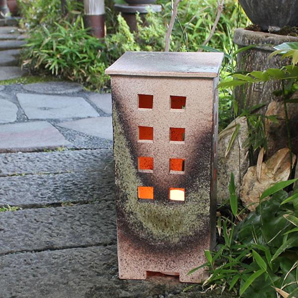 信楽焼庭園灯!玄関先、お庭を陶器照明が照らします。陶器あんどん/屋外用照明/防水ライト/行灯/あかり/防水照明[ak-0071]