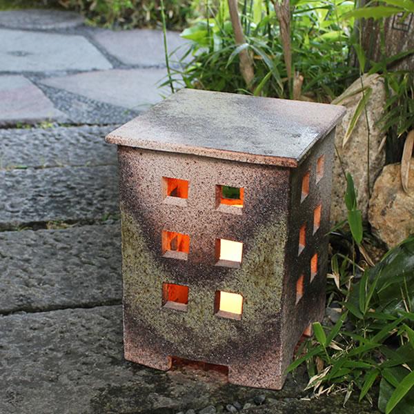 信楽焼庭園灯!玄関先、お庭を陶器照明が照らします。陶器あんどん/屋外用照明/防水ライト/行灯/あかり/防水照明[ak-0074]