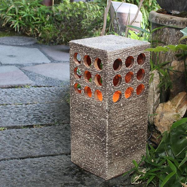 信楽焼庭園灯!玄関先、お庭を陶器照明が照らします。陶器あんどん/屋外用照明/防水ライト/行灯/あかり/防水照明[ak-0075]