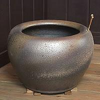 信楽焼10号砂釉金彩火鉢!和風を演出する陶器火鉢です。陶器ひばち/手焙/手あぶり/信楽焼ひばち【hi-0003】