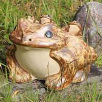 信楽焼18号五匹子付き蛙!(むかえる)/お庭に玄関先に陶器蛙!やきもの/陶器/しがらきやき/蛙/陶器かえる/信楽焼カエル/[ka-0062]