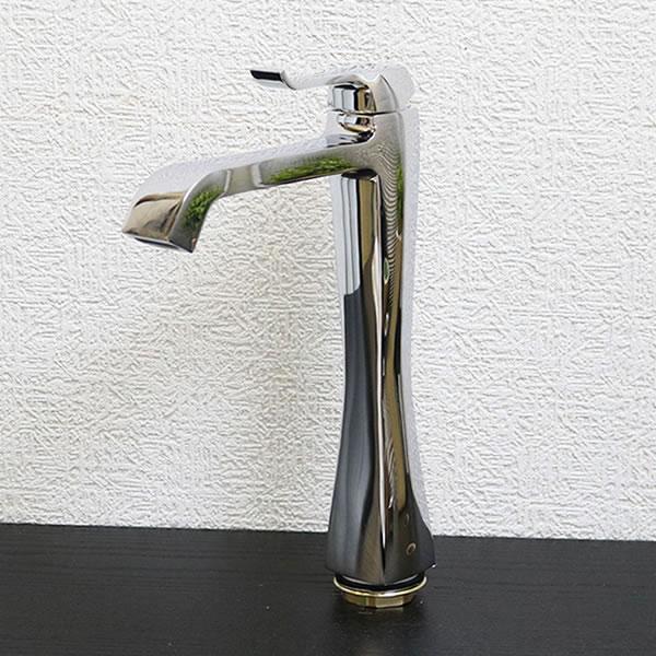 立ち水栓 混合水栓 蛇口 立水栓 シルバー 銀 クロムメッキ[se-0014]