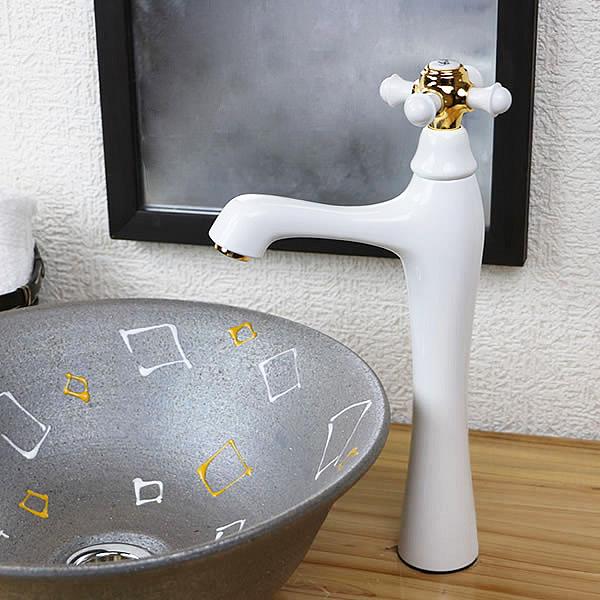 立ち水栓 手洗い鉢用 立水栓 単水栓 ホワイト 白 [se-0019]
