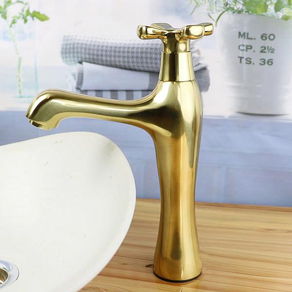 立ち水栓 手洗い鉢用 立水栓 単水栓 ゴールド 金 ショート [se-0020]