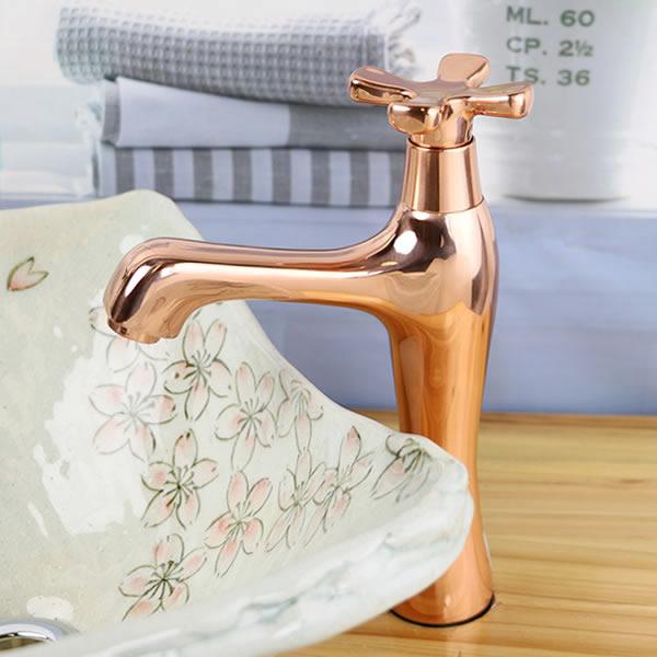 立ち水栓 手洗い鉢用 立水栓 単水栓 ピンクゴールド 金 ショート [se-0022]