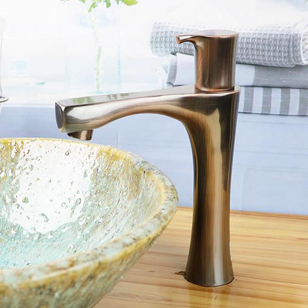 立ち水栓 手洗い鉢用 立水栓 単水栓 ブロンズ ショート [se-0024]