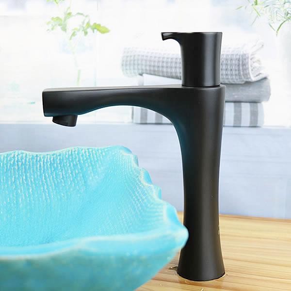 立ち水栓 手洗い鉢用 立水栓 単水栓 マットブラック ショート [se-0026]