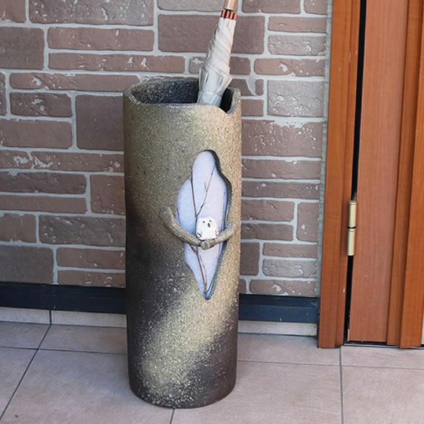 信楽焼障子木のりふくろう傘立て!玄関のインテリア!陶器/信楽焼かさたて!陶器傘立て/和風傘立て/やきもの/傘たて/つぼ/ツボ/しがらき/新築祝/開店祝/[kt-0038]
