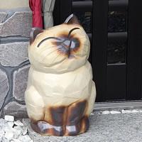 信楽焼猫傘立て(花瓶、花器)/可愛いネコが傘たてになりました!/玄関のインテリア!陶器/信楽焼かさたて/陶器傘立て/やきもの/傘たて/つぼ/ツボ/しがらき/傘入れ/カサタテ/新築祝/開店祝/[kt-0080]